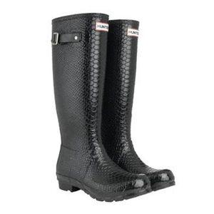 Hunter Snakeskin Tall Women's Black Rain Boots